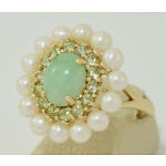 14K Yellow Gold 4.0 ct Green Jade Halo Ring  with 14 Peridot and Pearls Sz 10.5