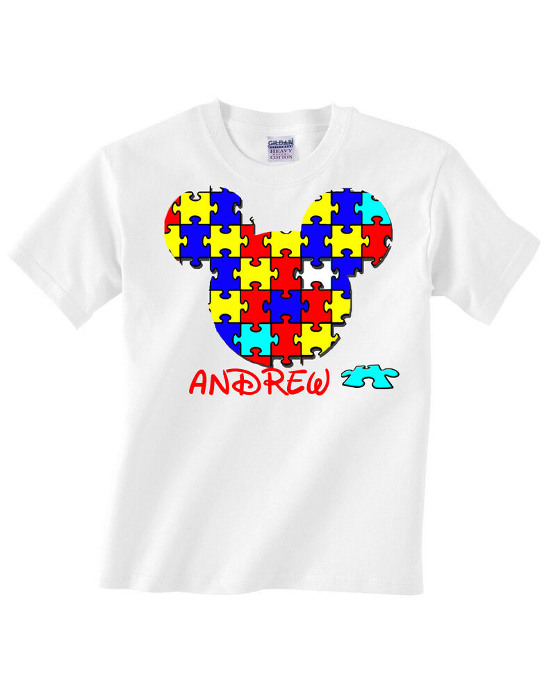 Autism Mickey Icon Puzzle Youth Graphic Awareness Custom Name Dtg T
