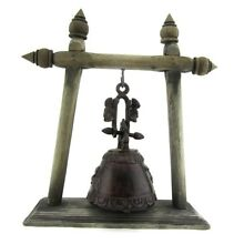 Antique Elephant Buddhist Cast Bronze Temple Bell with Wooden Stand Thailand 11