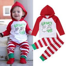 US Baby Girl Boy Infant Christmas Hooded Tops Pants 2Pcs Outfits Clothes 0-24M