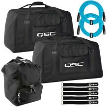 (2) QSC K12TOTE K12 Speaker Tote Bags with 20FT Blue XLR Cables & Carry Case