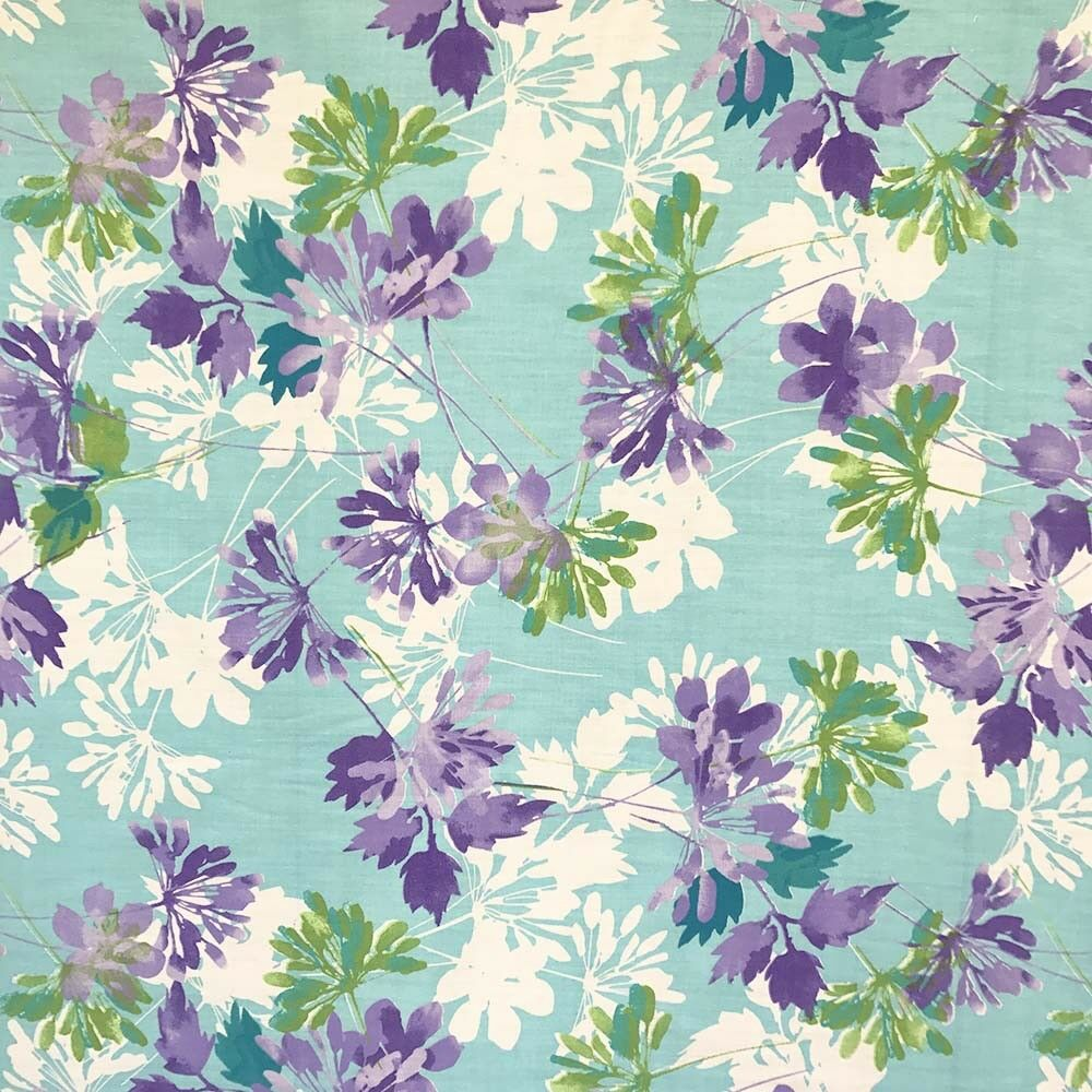 Kendall Aqua Print Fabric Cotton Polyester Broadcloth By