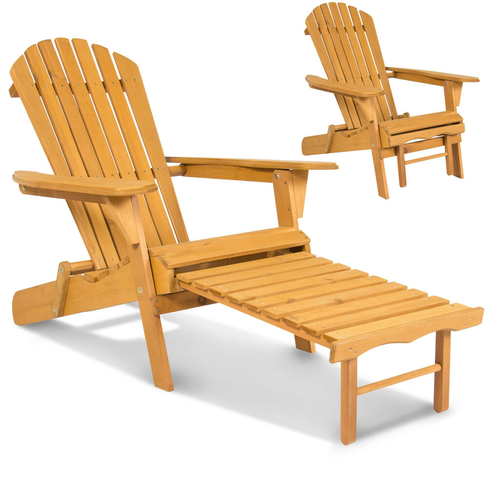 2 Adirondack Outdoor Fir Wood Chairs With Pull Out Ottoman