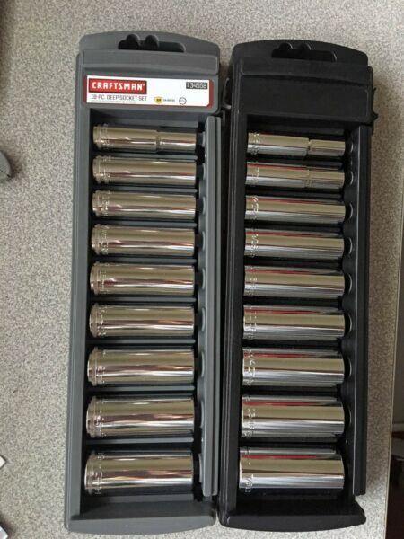 Craftsman 18 Pc Deep Socket Set, 3/8 Inch Drive Metric & SAE 12 Pt