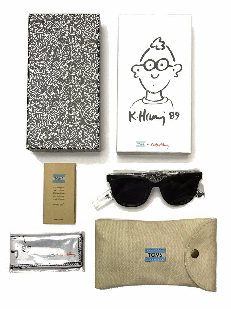 580e3fd29af8 Details about Limited TOMS Shoes x Keith Haring Memphis Black  Gray Lens  Sunglasses Cloth Case