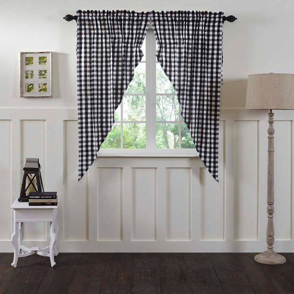 "FARMHOUSE COUNTRY PRIMITIVE ANNIE BUFFALO CHECK BLACK 63""L"