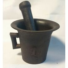 Antique Cast Iron Mortar & Pestle Vintage Pharmacy Apothecary Tool #1 Cup Handle