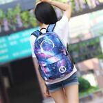 Galaxy School Bag Backpack Collection Canvas USB Charger for Teen Girls