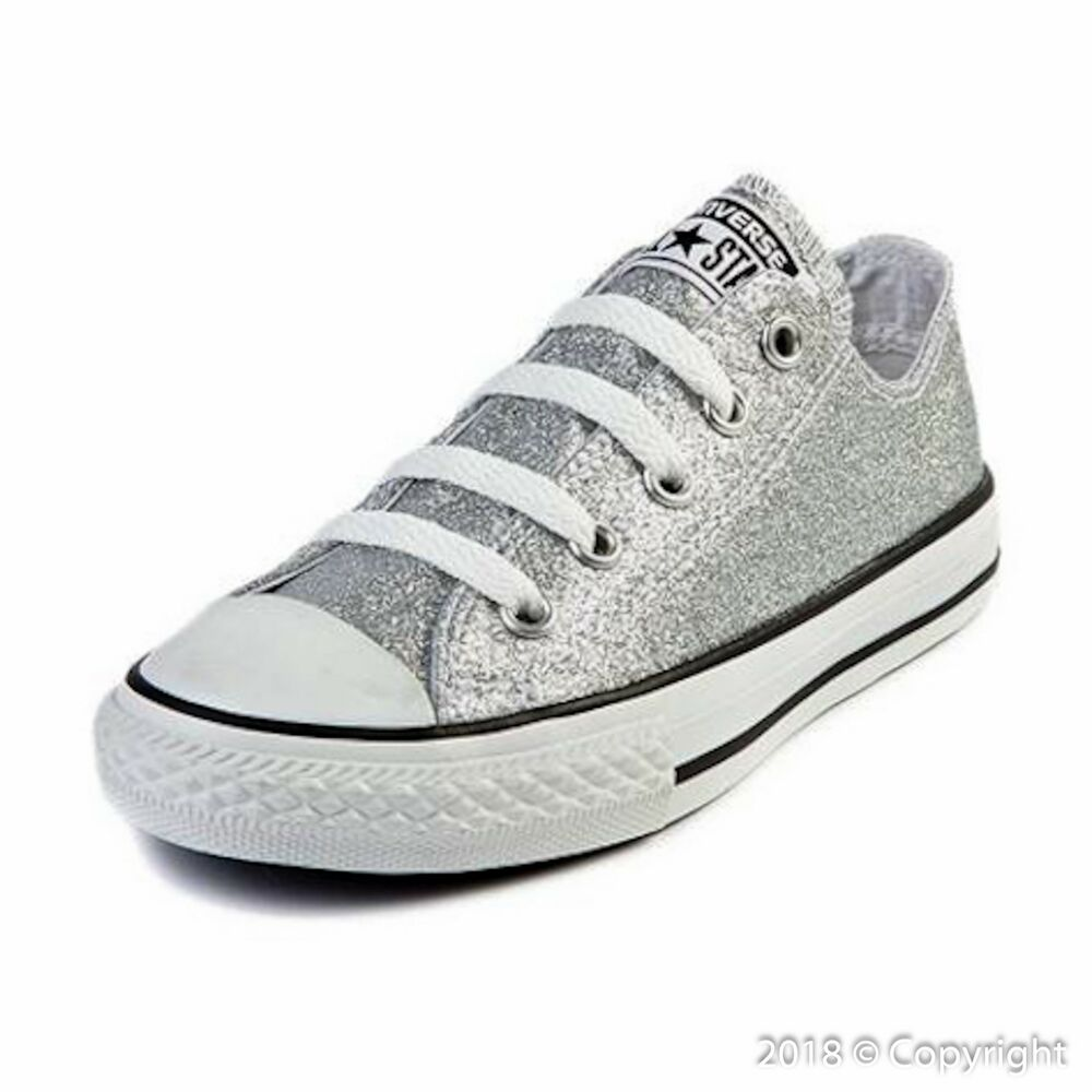863fc377f8a2ef Details about Junior Converse All-Star Chuck Taylor Silver Glitter Low  Sneakers  641727C