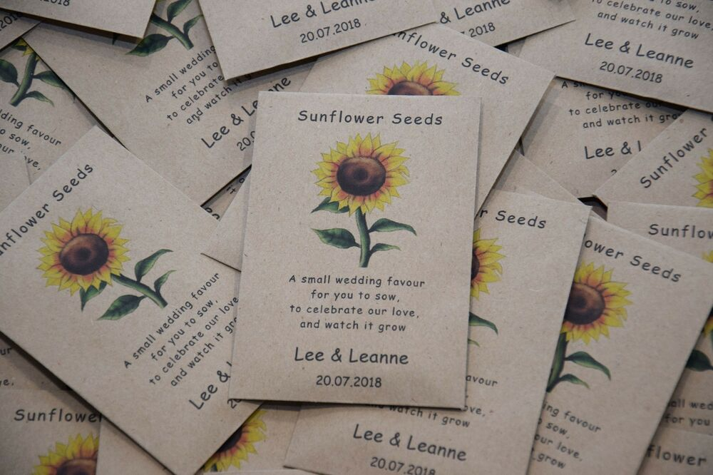 1 X Sunflower Seed Wedding Favour With Poem Fully Personalised