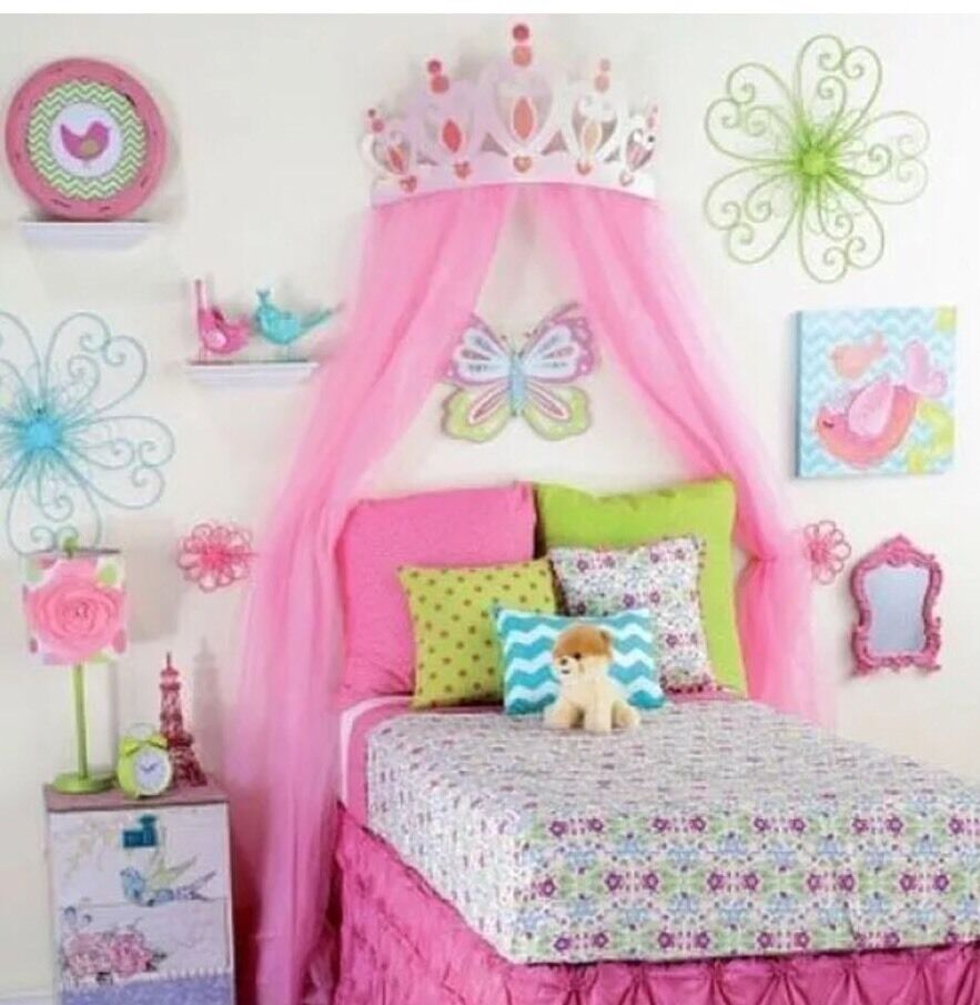 Princess Room Decor For S Large Pink Metal Crown Bedroom Wall Decoration 711938185805 Ebay