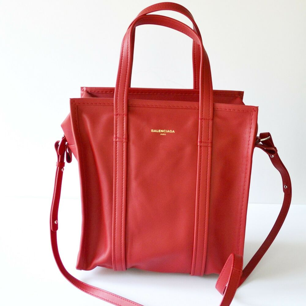 109c8b9df4 Details about Balenciaga Bazar Small Leather Shopper Tote Bag Red 443096-DL