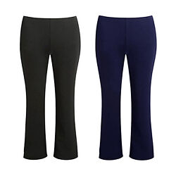 GIRLS PULL UP SCHOOL TROUSER FINELY RIBBED ELASTICATED WAIST BOTTOM STRETCH PANT