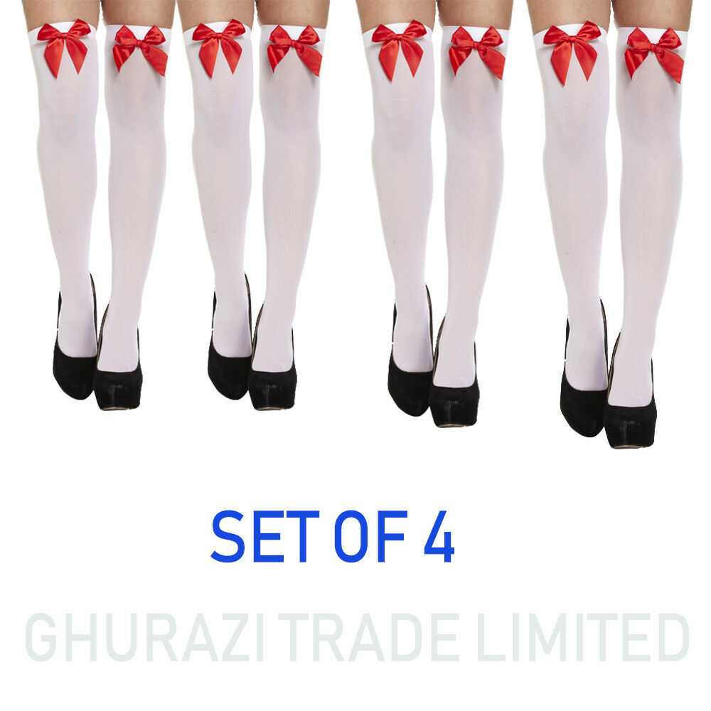 93824e9630a Details about 4X Ladies Over The Knee Hold Up Stockings Socks Thigh High  White With Red Bow