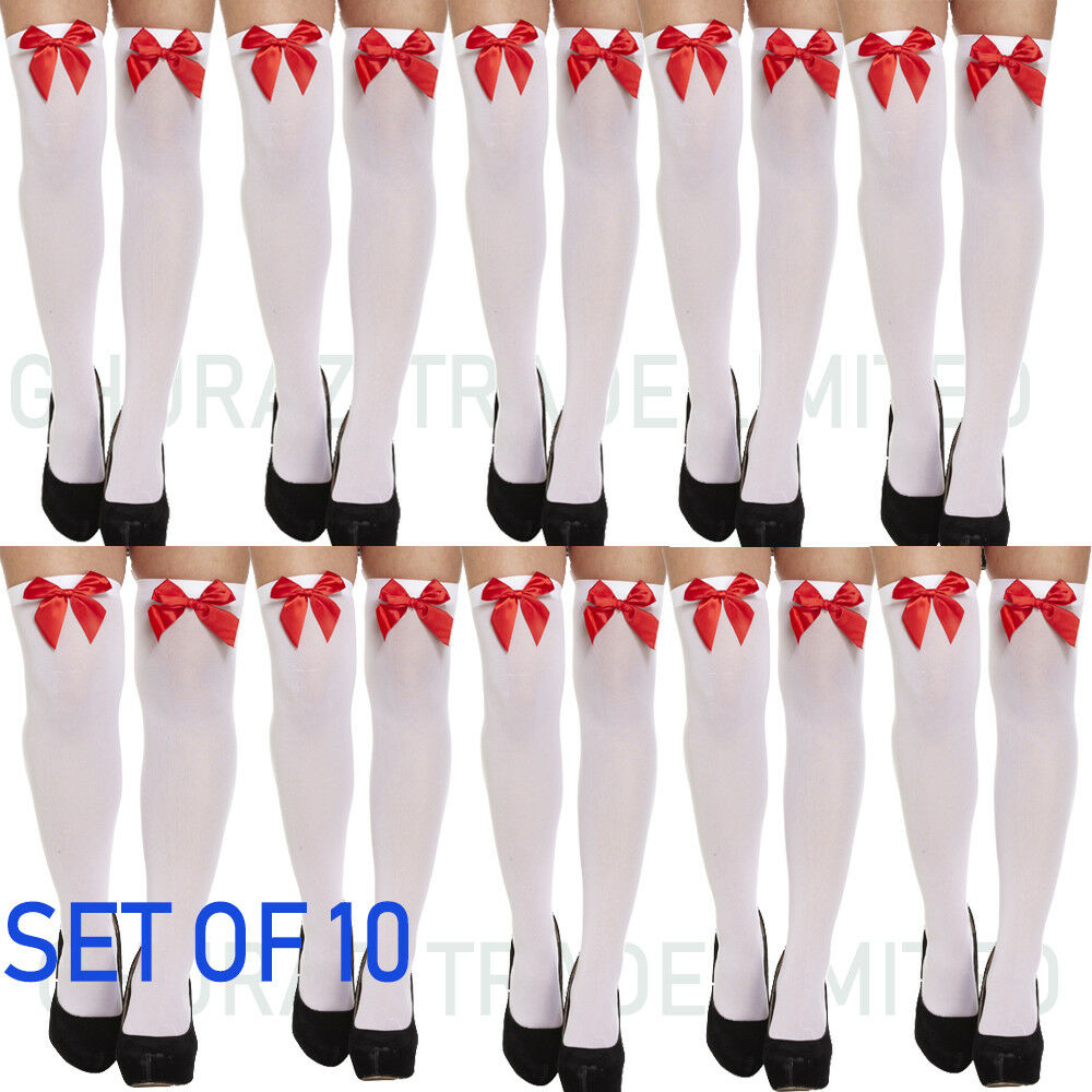 330047a79df Details about 10X Ladies Over The Knee Hold Up Stockings Socks Thigh High  White W H Red Bow