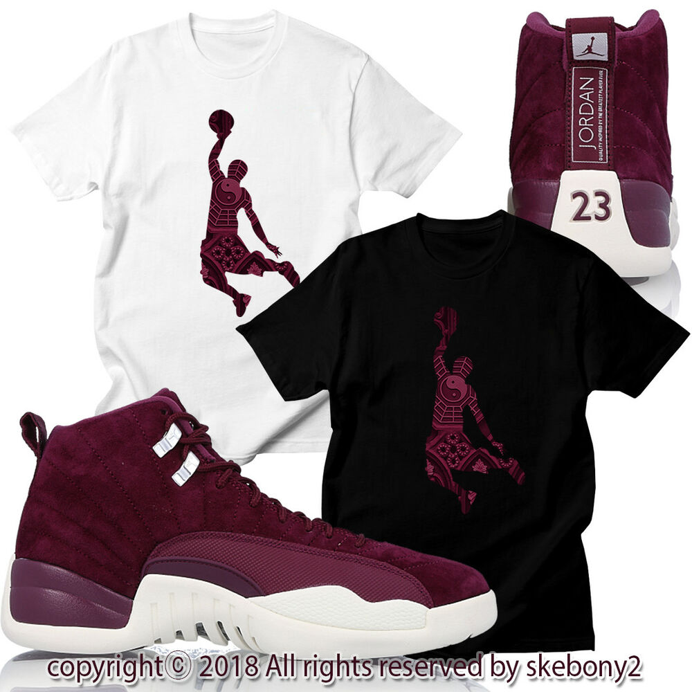 88c4f015b7d395 Details about CUSTOM T SHIRT Air Jordan XII Retro 12 Bordeaux Sail White JD  12-7-2