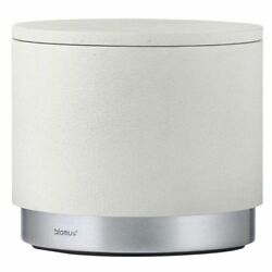 Blomus Ara Storage Container White Polystone w/ Brushed Matte Stainless Steel