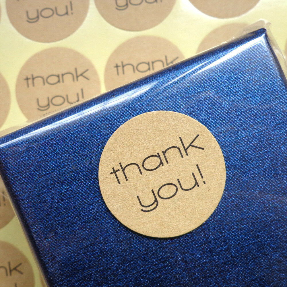 Details about 120pcs thank you sticker craft hand made kraft round label scrapbooking stickers