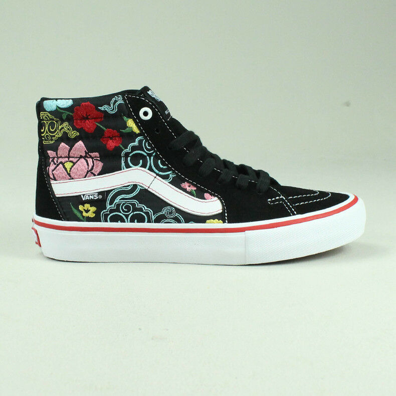 3b6c05a26b Vans Sk8 Hi Pro Lizzie Armanto Trainers Shoes in Black Floral in UK Size  4