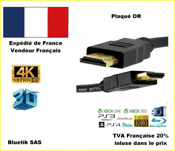 CÂBLE HDMI 1.52M FULL HD 4K 3D 1080p PS4 XBOX LCD PC ORDINATEUR 3840x2160P OR