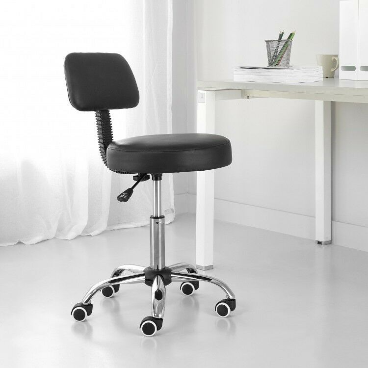 Charmant Details About High Back Rolling Office Stools Chairs Swivel Faux Leather  Spa Furniture Black