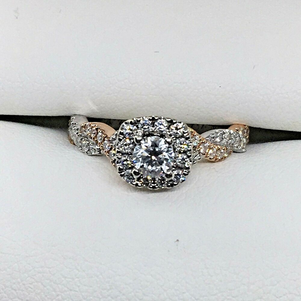 fe8d3cd0e Details about Neil Lane Engagement Ring 1/2 ct tw Diamonds 14K Two-Tone  White And Rose Gold