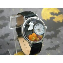 Spooky Halloween Watch with Ghost, Tombstone, Pumpkin, Autumn Leaves, Moon, Tree