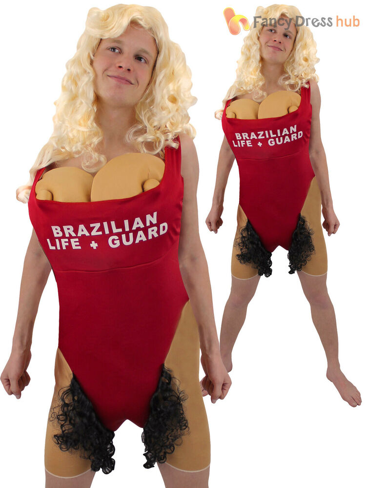 0cd342a91433 Adults Brazilian Babs Lifeguard Costume Mens Hairy Mary Fancy Dress Stag  Party