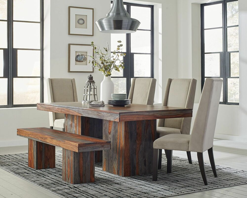 Details about rustic 7 pc solid wood dining table and velvet chairs dining room furniture set