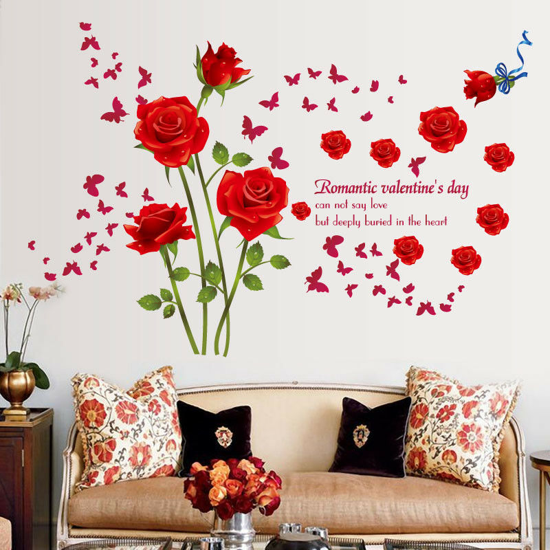 Red Roses Wall Stickers Living Room Couple Bedroom Sofa Background