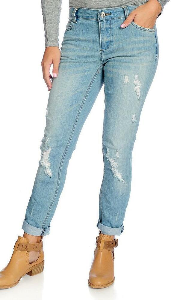 4780edda202331 Details about NEW - Indigo Thread Co.™ Stretch Denim Rolled Hem Distressed  Boyfriend Jeans - 2