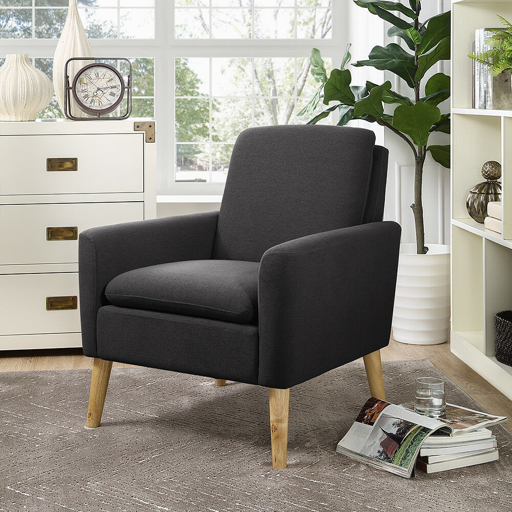Putting Accent Chair Close To Sofa: Arm Chair Tufted Back Fabric Upholstered Accent Chair