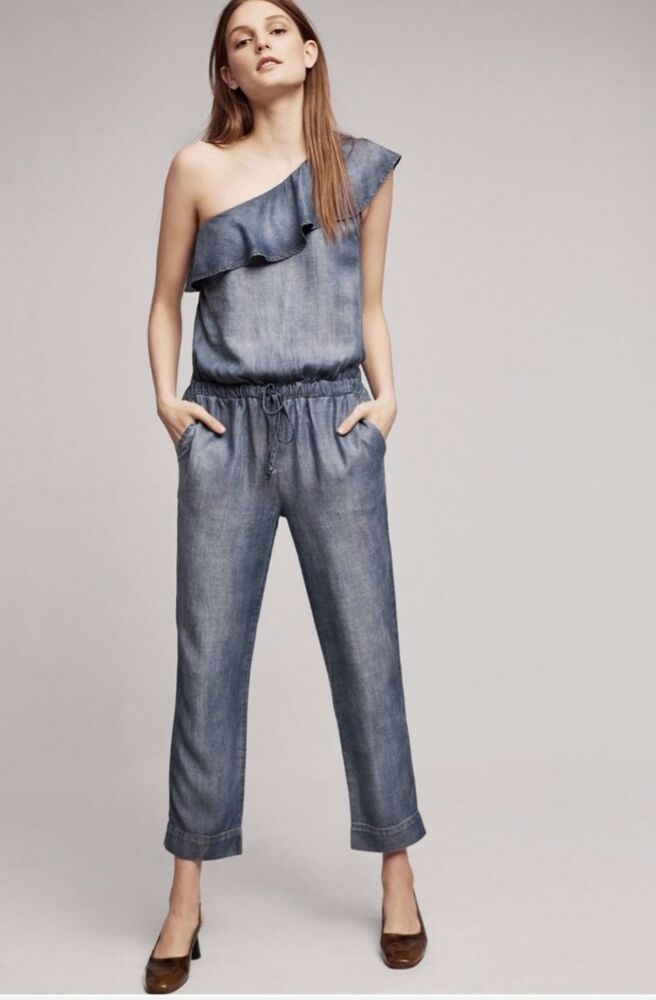 e596eebabe8 Details about NEW Anthropologie Cloth   Stone Shaded Chambray One Shoulder  Ruffle Jumpsuit S