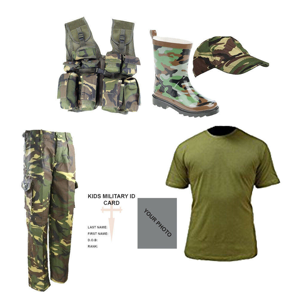 4fde3b78f Details about Kids Pack C Camo DPM Wellies T-shirt Cap, Trousers Vest Army  Military Dress Up