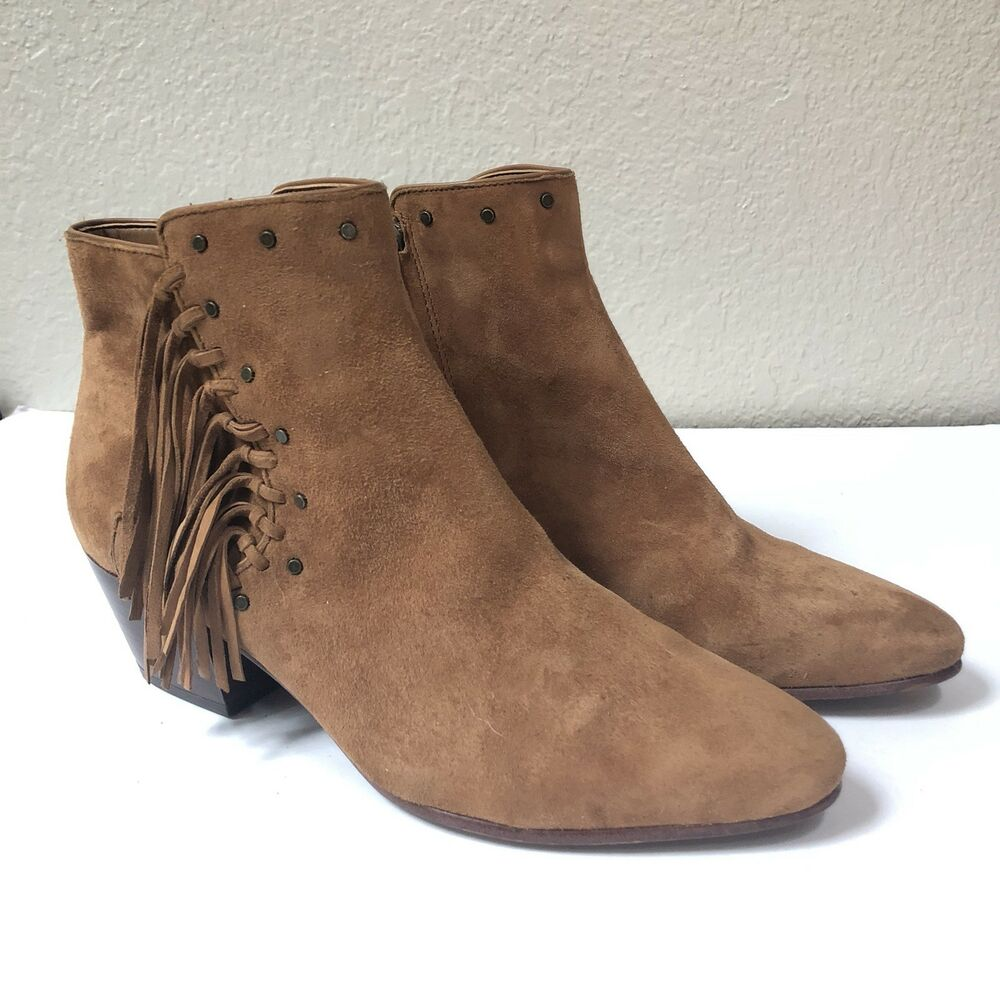 6837296c1a1f Sam Edelman  Rudie  Studded Fringe Ankle Bootie Saddle Suede Size 9 ...