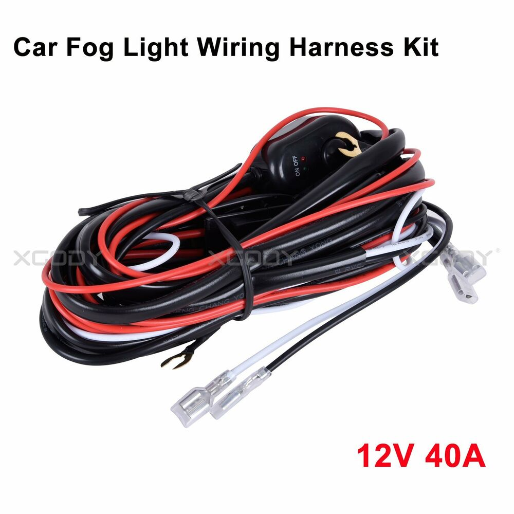 Wiring Harness For LED Work Light Bar Fuse 12V 40A Relay On-off Switch  Universal | eBay