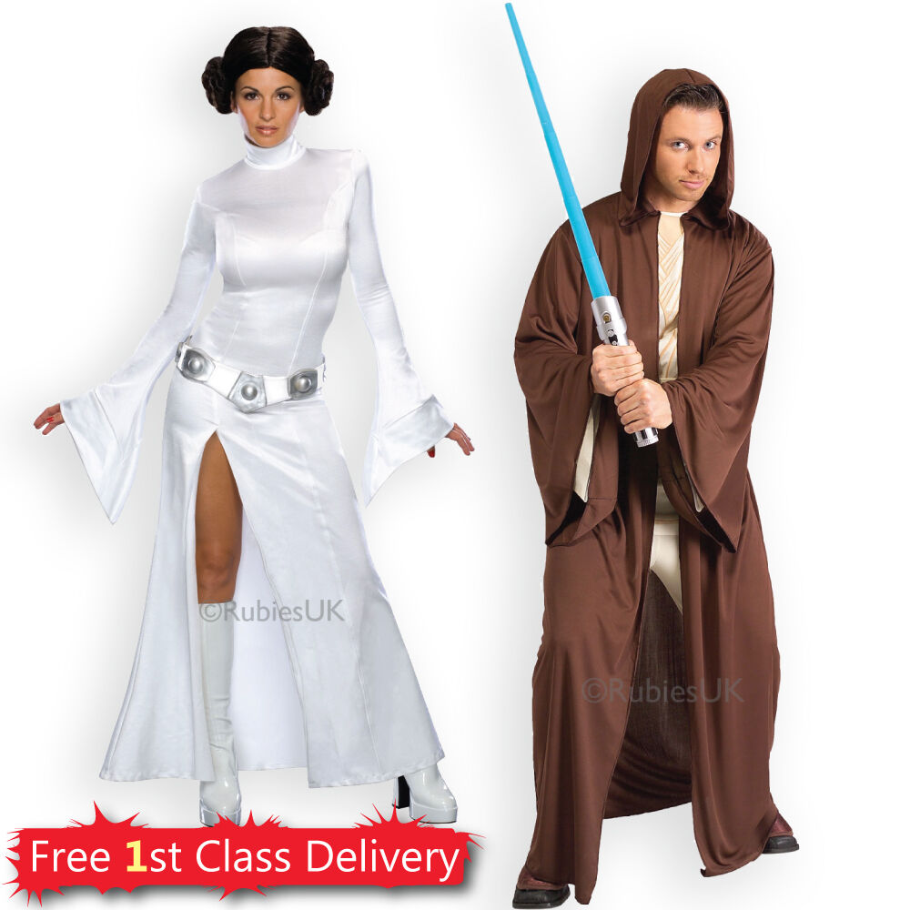 Details about Adult Sexy Princess Leia Jedi Fancy Dress Couples Costumes  Star Wars Licensed