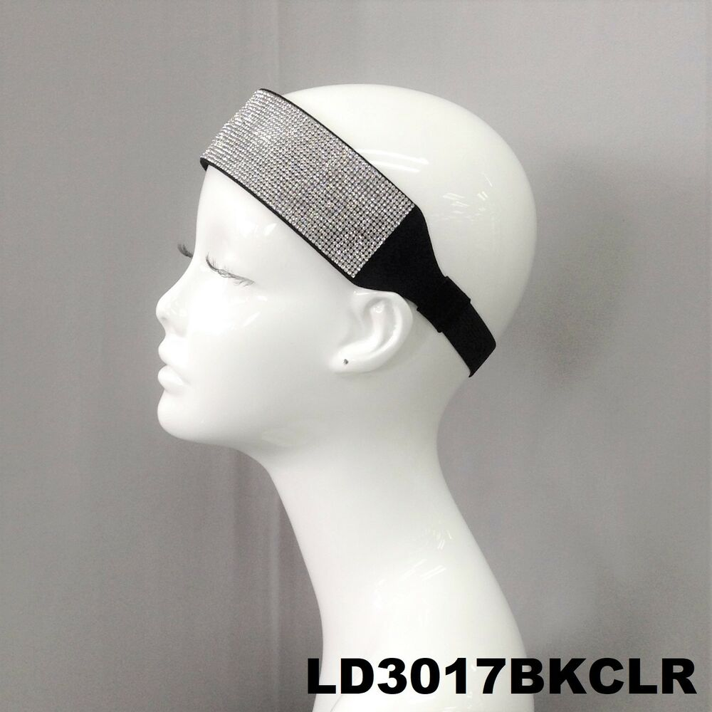 Details about Elastic Strip Stretch Suede Headband Clear Colored  Rhinestones Hair Accessory 3bc696c3d0c