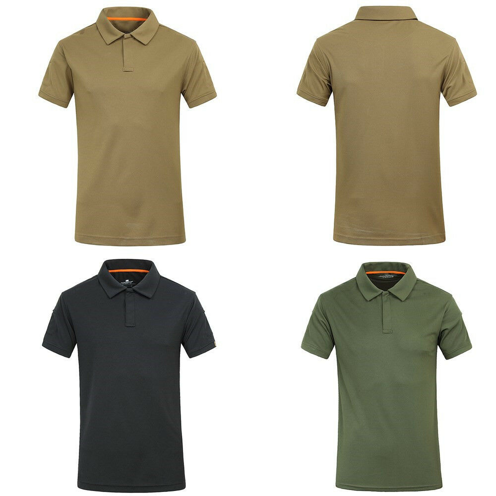Mens Combat Tactical T Shirt Casual Polo Shirt Army Outdoor Quick