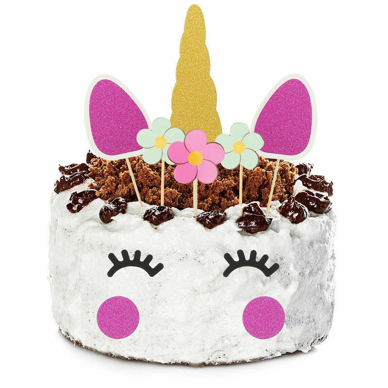 Details About UK Purple Unicorn Glitter Cake Topper Happy Birthday Candle Party Supplies Decor