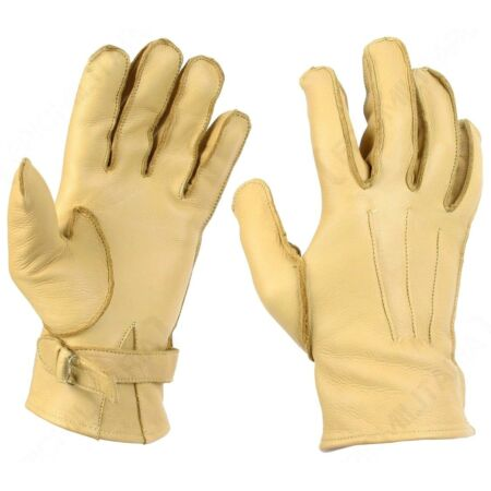 img-WW2 US Paratrooper Gloves - Leather Cowhide American Airborne Yellow Rigger New