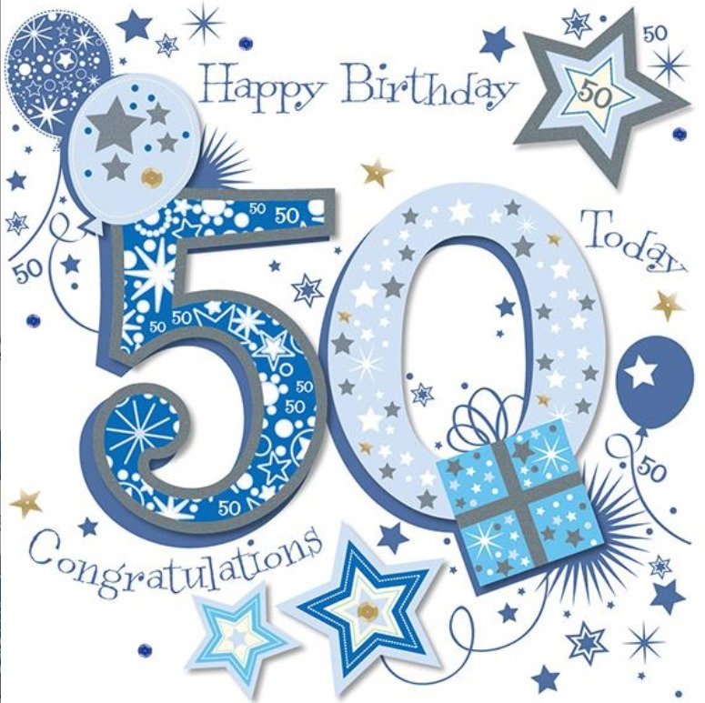 8x8 Large Talking Pictures 50th Birthday Card Blue Male Luxury Handmade 5024474060877