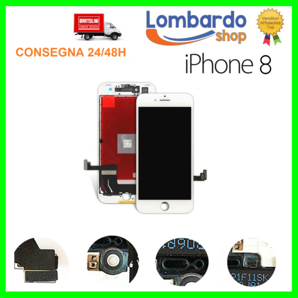 LCD PER APPLE IPHONE 8 BIANCO DISPLAY ORIGINALE TIANMA TOUCH SCREEN CON FRAME 8G