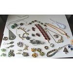 Nice LOT Vintage ESTATE Costume JEWELRY STERLING 1960s 1970s Earrings NECKLACE