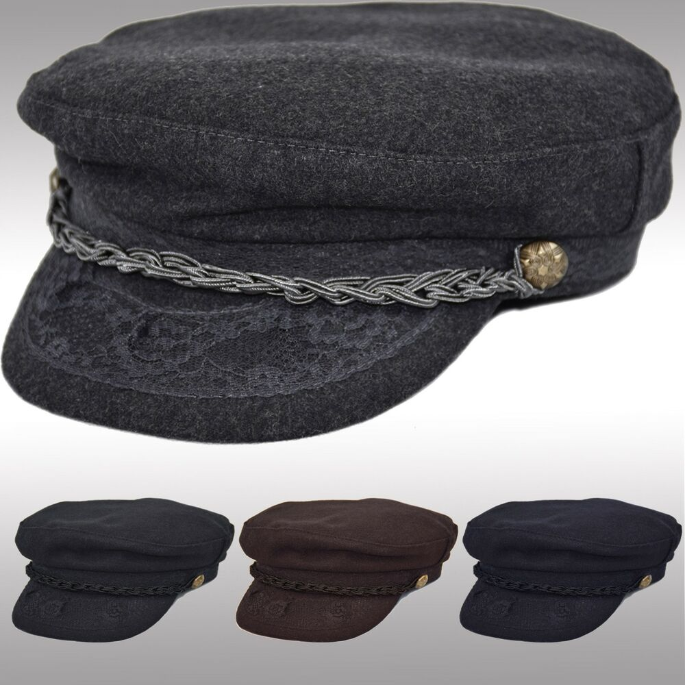 2cb3de08d0e Details about Premium Quality Men s Wool Greek Fisherman Hat Newsboy  Fiddler Sailor Cap