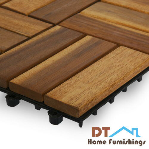 Details About Patio Deck Interlocking Floor Tiles Wood Outdoor Home Decor Set Of 10 Pieces