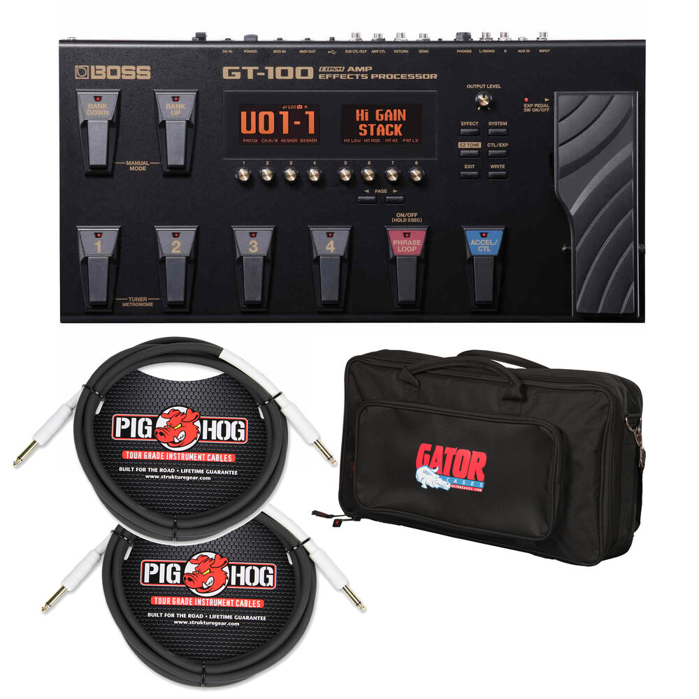 boss gt 100 guitar multi effects pedal w dlx pedal bag and 2 guitar cables 761294500088 ebay. Black Bedroom Furniture Sets. Home Design Ideas