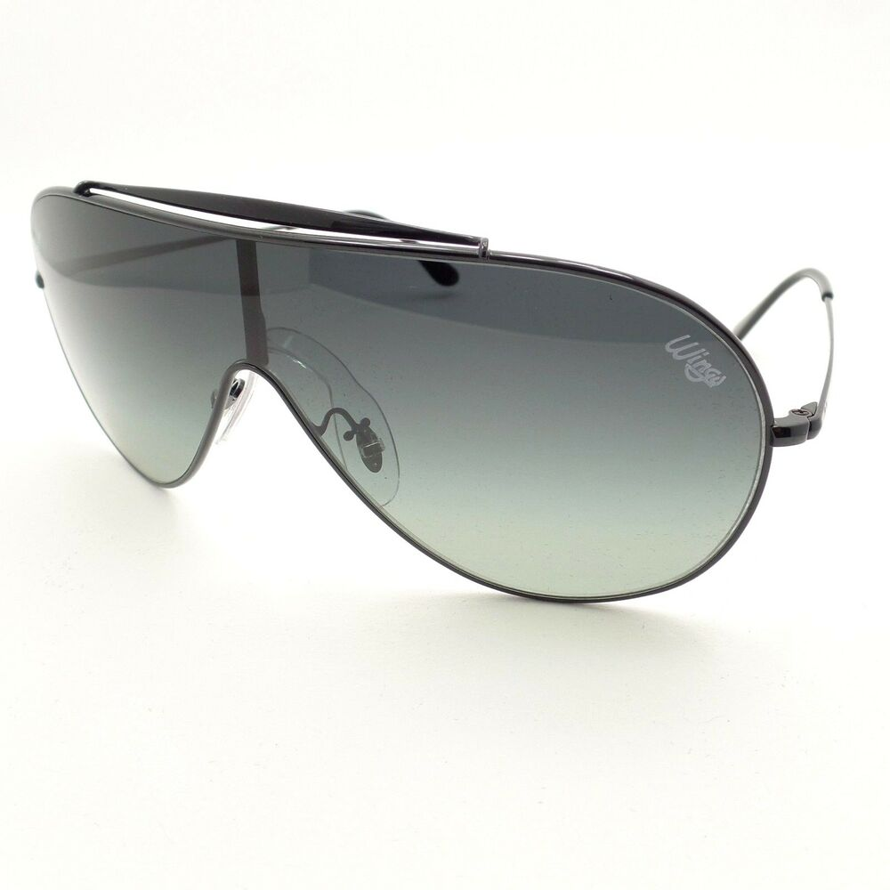 11ed5da002a5 Details about Ray Ban 3597 002/11 Black Grey Fade Wings Shield Sunglasses  Authentic