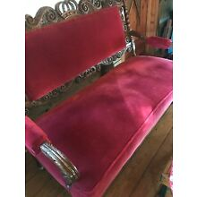 ANTIQUE Hand Carved Victorian Style Sofa, Mohair Upholstery, Home/Office, Rare