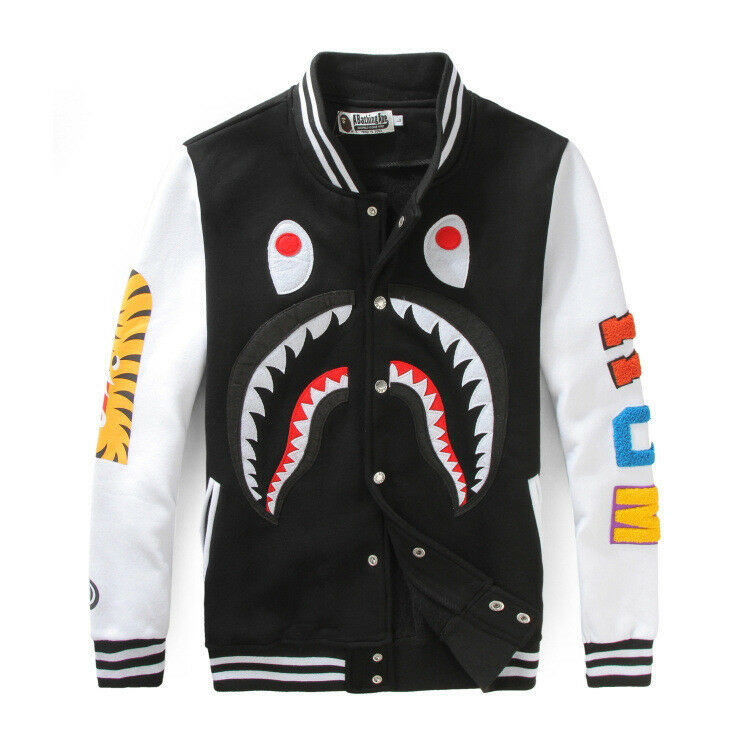 Details about A Bathing Ape Shark Head Men Women Bape Jaw Sports Jacket  Sweats Baseball Coat 295125dcb